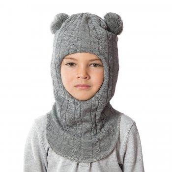 Шлем (серый с помпонами, вязка косички)Одежда<br>; Размеры в наличии: 0, 1, 2, 3.<br>