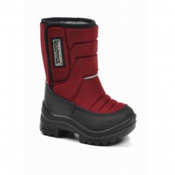 Сапожки Tarravarsi (бордовый)Обувь<br>Удобные и легкие сапоги Kuoma Tarravarsi согреют ножки ребенка даже в самые лютые морозы. Зимние сапожки выполнены из грязе- и водоотталкивающего материала. Устойчивая, прочная и гибкая подошва с протектором. Светоотражающие полоски 3М Scotchlite для безопасности. Теплая стелька и подкладка из ворса, который не скатывается при носке. Модель имеет сбоку липучку.<br> Производитель: Kuomiokoski OY (Финляндия)<br> Страна производства: Финляндия<br><br> Очищайте обувь от загрязнений с помощью влажной губки. При необходимости обувь Kuoma можно стирать в стиральной машинке или вручную при температуре не выше 40 градусов. Перед стиркой вынуть стельку. Сушка при температуре не выше 40 градусов. После стирки рекомендуется обрабатывать обувь водо- и грязеотталкивающими аэрозолями.<br>  <br> Верх: текстиль<br> Подошва: полиуретан<br> Подкладка: искусственный мех<br><br> Температурный режим <br> До -30 градусов.<br>; Размеры в наличии: 27, 28, 29, 30, 31, 32, 33, 34, 35.<br>