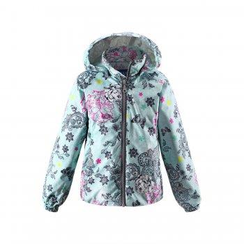 Ветровка (мятный с цветами)Куртки<br>; Размеры в наличии: 92, 98, 104, 110, 116, 122, 128, 134, 140.<br>