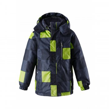 Куртка (синий с зеленым)Куртки<br>Зимняя куртка для мальчиков. Верхняя мембранная ткань защищает от снега и отводит влагу от тела. Современный синтетический утеплитель делает куртку легкой и теплой и при этом простой в уходе. Мягкая флисовая подкладка в капюшоне, верхней части спинки и на внутренней поверхности манжетов рукавов помогает сохранить тепло при низких температурах. Капюшон на кнопках регулируется по объему, а резинки по бокам надежно удерживают его на голове. Благодаря крупной молнии куртку легко снимать и надевать, ветрозащитная планка исключает продувание. Боковые карманы на кнопках и нагрудный кармашек на молнии позволяют разместить все необходимое. Светоотражающие элементы повышают безопасность ребенка на улице.<br><br>   капюшон отстегивается с помощью кнопок, защитная планка молнии на липучке, защита подбородка от защемления, карманы на кнопке, манжеты на резинке, утяжка по подолу, светоотражающие элементы.  <br> Верх: 100% полиэстер<br> Утеплитель: 180 грамм (100% полиэстер)<br> Подкладка: 100% полиэстер<br> Водонепроницаемость: 1000 мм<br> Паропроводимость: 1000 г/м2/24ч<br> Износостойкость: 50000 об.<br> Производитель: Lassie (Финляндия)<br> Страна производства: Китай<br> Коллекция: Осень/Зима 2017<br> Модель производится в размерах: 92-140<br><br> Температурный режим <br> От +5 до -10 градусов; Размеры в наличии: 98, 104, 110, 116, 122, 128, 134, 140.<br>