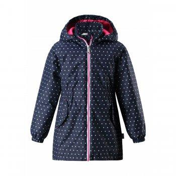 Куртка утепленная (черный в белый горох)Куртки<br>Описание: <br><br>Функциональные элементы:  капюшон отстегивается с помощью кнопок, защита подбородка от защемления, карманы без застежек, манжеты на резинке, светоотражающие элементы. <br>Характеристики: <br>Верх: 100% полиэстер<br>Утеплитель: 80 грамм (100% полиэстер).<br>Подкладка: 100% полиэстер<br>Водонепроницаемость: 1000 мм<br>Паропроводимость: 2000 г/м2/24ч<br>Износостойкость: 20000 об.<br>Производитель: Lassie (Финляндия)<br>Страна производства: Китай<br>Модель производится в размерах: 92-140<br>Коллекция: Весна-Лето 2018<br>Температурный режим: <br>От 0 градусов и выше.; Размеры в наличии: 128, 134, 140.<br>