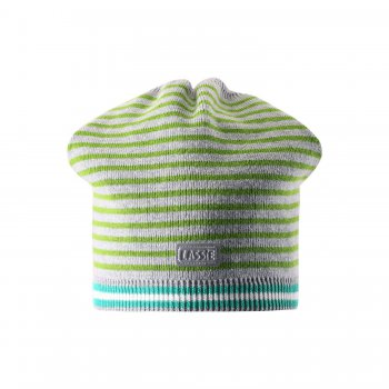 Шапка (зеленый в полоску)Одежда<br>Материал<br>Верх: 100% хлопок<br>Утеплитель: нет<br>Описание<br>Ветронепроницаемые вставки в области ушей<br>Производитель: Lassie (Финляндия)<br>Страна производства: Китай<br>Коллекция: Весна/Лето 2015<br>Модель производится в размерах: S (46-48), M (50-52), L (54-56)<br>; Размеры в наличии: L, M, S.<br>