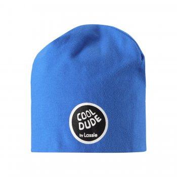 Шапка (синий)Одежда<br>Хлопковая шапочка для теплого межсезонья и лета. Она защитит ребенка от не сильного ветра и станет отличным дополнением образа!   Верх: 95% хлопок, 5% эластан<br> Утеплитель: нет<br> Подкладка: 95% хлопок, 5% эластан<br> Производитель: Lassie (Финляндия)<br> Страна производства: Китай<br> Модель производится в размерах: S-L<br> Коллекция: Весна-Лето 2018<br><br> Температурный режим <br> От +7 градусов и выше.; Размеры в наличии: S, M, L.<br>