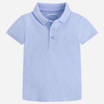 Футболка-поло (голубой)Одежда<br>Футболка-поло представлена в двух пастельных оттенках - голубом и зеленом. Она подойдет мальчишкам от 2 до 9 лет. Ее можно одеть как на праздник, так и в садик или на прогулку. Футболка застегивается сверху на три пуговицы, а слева от них находится маленькое фирменное облачко Mayoral.   Верх:<br> Производитель: MAYORAL (Испания)<br> Страна производства: Бангладеш<br> Модель производится в размерах: 2-9 лет<br> Коллекция: Весна/Лето 2018<br>; Размеры в наличии: 2, 3, 4, 5, 6, 7, 8, 9.<br>