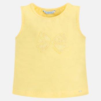 Майка (желтый)Одежда<br>Описание<br><br>Характеристики<br>Верх: 95% хлопок, 5% эластан<br>Производитель: MAYORAL (Испания)<br>Страна производства: Бангладеш<br>Модель производится в размерах: 2-9 лет<br>Коллекция: Весна/Лето 2018; Размеры в наличии: 2, 3, 4, 5, 6, 7, 8, 9.<br>
