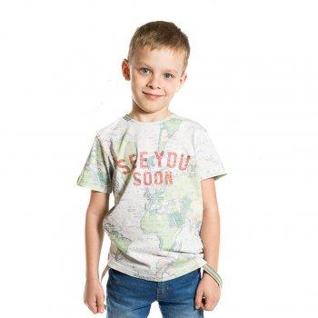 Футболка (серый)Одежда<br>Материал<br>Верх: 100% хлопок<br>Описание<br>Стильная футболка для мальчиков от 2 до 9 лет выполнена из чистого хлопка. Модель украшена принтом с изображением карты мира, прекрасно дополнит повседневный образ ребенка.<br>Производитель: MAYORAL (Испания)<br>Страна производства: Индия<br>Коллекция: Весна/Лето 2017<br>Модель производится в размерах: 2-9 лет; Размеры в наличии: 2, 3, 4, 5, 6, 7, 8, 9.<br>