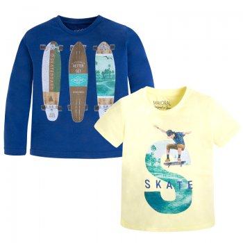 Комплект из 2-х футболок (желтый, синий)Одежда<br>Материал<br>Верх: 100% хлопок<br>Описание<br>Стильный комплект от испанского бренда Mayoral для мальчиков от 2 до 9 лет. Комплект выполнен из чистого хлопка, состоящий из двух футболок. Синяя футболка с длинным рукавом украшена принтом с изображение скейтбордов, желтая модель с коротким рукавом украшена принтом в спортивном стиле. Можно сочетать с джинсами, шортами и спортивными брюками.<br>Производитель: MAYORAL (Испания)<br>Страна производства: Индия<br>Коллекция: Весна/Лето 2017<br>Модель производится в размерах: 2-9 лет; Размеры в наличии: 2, 3, 4, 5, 6, 7, 8, 9.<br>