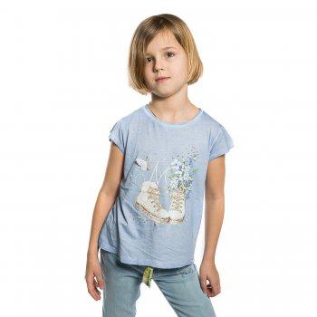 Футболка (голубой с цветами)Одежда<br>Материал<br>Верх: 53% вискоза, 47% хлопок<br>Описание<br>Нежная футболка с коротким рукавом выполнена из приятной на ощупь ткани из хлопка с добавлением вискозы. Модель, декорированная оригинальным  принтом, стразами и нашивкой-бабочкой, отлично дополнит повседневный образ юной модницы.<br>Производитель: MAYORAL (Испания)<br>Страна производства: Китай<br>Коллекция: Весна/Лето 2017<br>Модель производится в размерах: 2-9 лет; Размеры в наличии: 2, 3, 4, 5, 6, 7, 8, 9.<br>