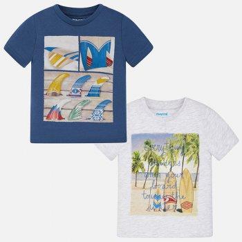 Комплект из 2-х футболок (синий, белый)Одежда<br>Описание: <br><br>Характеристики: <br>Верх:100% хлопок<br>Производитель: MAYORAL (Испания)<br>Страна производства: Бангладеш<br>Модель производится в размерах: 2-9 лет<br>Коллекция: Весна/Лето 2018<br>; Размеры в наличии: 2, 3, 4, 5, 6, 7, 8, 9.<br>