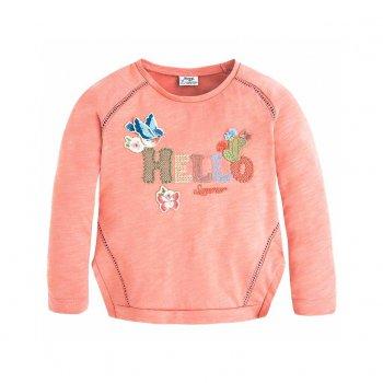 Лонгслив (темно-розовый)Одежда<br>Лонгслив для девочки испанского бренда Mayoral. Производится в размерах 2-9 лет. Стильная кофта с круглым вырезом выполнена из 100% хлопка, мягкая, приятная на ощупь. Однотонная модель украшена оригинальным принтом. Можно сочетать с джинсами, шортами и спортивными брюками. Прекрасный вариант для прохладной погоды.<br> Производитель: MAYORAL (Испания)<br> Страна производства: Китай<br> Коллекция: Весна/Лето 2017<br> Модель производится в размерах: 2-9 лет  <br> Верх: 100% хлопок<br>; Размеры в наличии: 2, 3, 4, 5, 6, 7, 8, 9.<br>