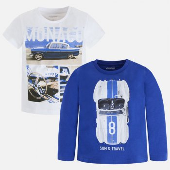 Комплект: футболка, лонгслив (белый, голубой)Одежда<br>Описание<br><br>Характеристики<br>Верх: 100% хлопок<br>Производитель: MAYORAL (Испания)<br>Страна производства: Бангладеш<br>Модель производится в размерах: 2-9 лет<br>Коллекция: Весна/Лето 2018<br>; Размеры в наличии: 2, 3, 4, 5, 6, 7, 8, 9.<br>