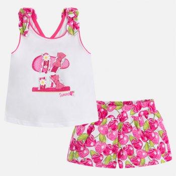 Комплект (белый с розовым): футболка, шортыОдежда<br>Описание<br><br>Характеристики<br>Верх: 95% хлопок, 5% эластан<br>Производитель: MAYORAL (Испания)<br>Страна производства: Китай<br>Модель производится в размерах: 2-9 лет<br>Коллекция: Весна/Лето 2018; Размеры в наличии: 2, 2, 3, 3, 4, 4, 5, 5, 6, 6, 7, 7, 8, 8, 9, 9.<br>