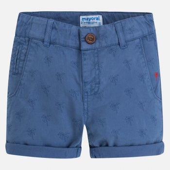 Шорты (синий)Одежда<br>Стильные шортики с пальмами обязательно пригодятся летом! У них классический крой, напоминающий брюки, а также очень универсальный цвет. Шорты сделаны из хлопка с небольшим добавлением эластана, поэтому в жаркую погоду в них будет очень комфортно!   Верх: 98% хлопок, 2% эластан<br> Производитель: MAYORAL (Испания)<br> Страна производства: Индия<br> Модель производится в размерах: 2-9 лет<br> Коллекция: Весна/Лето 2018<br>; Размеры в наличии: 2, 2, 3, 3, 4, 4, 5, 5, 6, 6, 7, 7, 8, 8, 9, 9.<br>