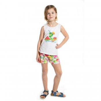 Комплект: майка, шорты (белый с цветами)Комбинезоны<br>Материал<br>Верх: 95% хлопок, 5%  эластан<br>Описание<br>Комплект для девочек от 2 до 9 лет выполнен из хлопка с добавлением эластана и включает в себя майку и шорты. Однотонная майка на широких бретелях украшена летним принтом с изображением фруктов, надписью, блёстками и россыпью страз, а также бантиком на спинке. Шорты, декорированные ярким цветочным принтом и дополнены широкой эластичной резинкой на талии.<br>Производитель: MAYORAL (Испания)<br>Страна производства: Индия<br>Коллекция: Весна/Лето 2017<br>Модель производится в размерах: 2-9 лет; Размеры в наличии: 2, 3, 4, 5, 6, 7, 8, 9.<br>