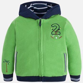 Толстовка (зеленый)Одежда<br>Толстовка для мальчиков сочного зеленого цвета. На манжетах и внутри капюшона сине-белые полоски. Толстовка отлично подойдет на весну и прохладное лето.   Верх: 100% хлопок<br> Производитель: MAYORAL (Испания)<br> Страна производства: Индия<br> Модель производится в размерах: 2-9 лет<br> Коллекция: Весна/Лето 2018<br>; Размеры в наличии: 2, 2, 3, 3, 4, 4, 5, 5, 6, 6, 7, 7, 8, 8, 9, 9.<br>