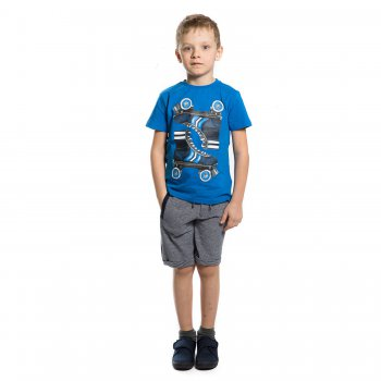 Комплект: футболка, шорты (синий с принтом)Одежда<br>Материал<br>Футболка: 100% хлопок. Шорты: 56% хлопок, 44% полиэстр.<br>Описание<br>Комплект для мальчиков от 2 до 9 лет состоит из футболки и шорт и выполнен из чистого хлопка. Однотонная яркая футболка украшена рисунком с изображением роликов. Шорты застёгиваются на удобную кнопку и дополнены удобной широкой резинкой с регулируемой завязкой-шнурком на поясе, а также тремя прорезными карманами. <br>Производитель: MAYORAL (Испания)<br>Страна производства: Бангладеш<br>Коллекция: Весна/Лето 2017<br>Модель производится в размерах: 2-9 лет; Размеры в наличии: 2, 3, 4, 5, 6, 7, 8, 9.<br>
