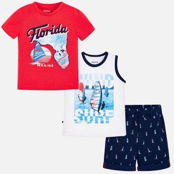 Mayoral Комплект: футболка, майка, шорты (красный с принтом) комплект из 2 пижам с принтом 3 12 лет