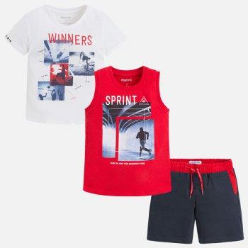 Комплект 3 в 1: футболка, майка и шорты (красный)Одежда<br>Описание: <br><br>Характеристики: <br>Верх: 100% хлопок<br>Производитель: MAYORAL (Испания)<br>Страна производства: Индия<br>Модель производится в размерах: 2-9 лет<br>Коллекция: Весна/Лето 2018; Размеры в наличии: 2, 3, 4, 5, 6, 7, 8, 9.<br>