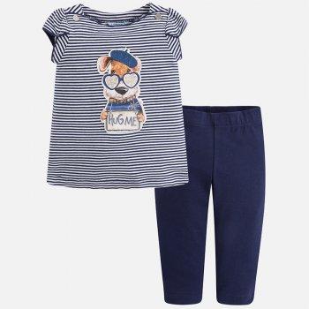 Комплект (синий в полоску)Одежда<br>Очень практичный комплект из футболки и штанишек для девочек. У футболки очаровательная аппликация с собачкой и красиво оформленные плечики. А штаны-капри хороши своим практичным цветом и очень удачным фасоном.   Верх: 95% хлопок, 5% эластан<br> Производитель: MAYORAL (Испания)<br> Страна производства: Тупция<br> Модель производится в размерах: 2-9 лет<br> Коллекция: Весна/Лето 2018; Размеры в наличии: 2, 3, 4, 5, 6, 7, 8, 9.<br>