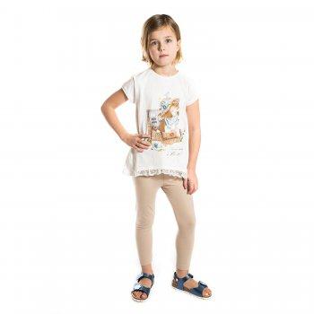 Комплект: футболка, леггинсы (белый с собачкой)Комбинезоны<br>Материал<br>Верх: 95% хлопок, 5% эластан<br>Описание<br>Комплект для девочек от 2 до 9 лет выполнен из хлопка с добавление эластана и включает в себя футболку и леггинсы. Белая однотонная футболка украшена оригинальным принтом, можно сочетать с шортами. Леггинсы  дополнены широкой эластичной резинкой на талии, благодаря универсальному светло-бежевому цвету так же можно сочетать с любой туникой.<br>Производитель: MAYORAL (Испания)<br>Страна производства: Индия<br>Коллекция: Весна/Лето 2017<br>Модель производится в размерах: 2-9 лет; Размеры в наличии: 2, 3, 4, 5, 6, 7, 8, 9.<br>