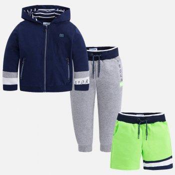 Комплект 3 в 1: кофта, брюки, шорты (синий с зеленым)Комбинезоны<br>Описание: <br><br>Характеристики: <br>Кофта, брюки: 80% хлопок, 20% полиэстер, шорты: 65% полиэстер, 35% хлопок<br>Производитель: MAYORAL (Испания)<br>Страна производства: Индия<br>Модель производится в размерах: 2-9 лет<br>Коллекция: Весна/Лето 2018<br>; Размеры в наличии: 2, 3, 4, 5, 6, 7, 8, 9.<br>