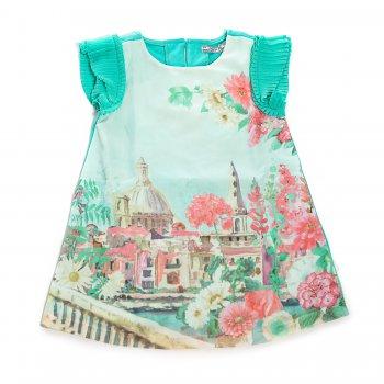 Платье (бирюзовый)Одежда<br>Материал<br>Верх: 70% полиэстер, 28% хлопок, 2% эластан<br>Описание<br>Платье c коротким рукавом, выполненное из приятной на ощупь ткани, дополнено хлопковой подкладкой. Модель свободного кроя декорирована рюшами на рукавах и ярким  принтом. Платье застегивается на две пуговицы на спине.<br>Производитель: MAYORAL (Испания)<br>Страна производства: Китай<br>Коллекция: Весна/Лето 2017<br>Модель производится в размерах: 2-9 лет; Размеры в наличии: 2, 3, 4, 5, 6, 7, 8, 9.<br>