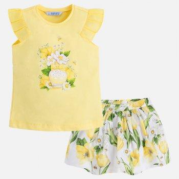 Комплект: майка, юбка (желтый с цветами)Комбинезоны<br>Описание<br><br>Характеристики<br>Майка: 96% хлопок, 4% эластан; Юбка: верх: 100% хлопок, подкладка: 50% хлопок, 50% полиэстер<br>Производитель: MAYORAL (Испания)<br>Страна производства: Индия<br>Модель производится в размерах: 2-9 лет<br>Коллекция: Весна/Лето 2018<br>; Размеры в наличии: 2, 3, 4, 5, 6, 7, 8, 9.<br>