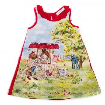 Платье (красный с принтом)Одежда<br>Материал<br>Верх: 95% хлопок, 5% эластан<br>Описание<br> Легкое летнее платье на бретелях, выполненное из приятной, мягкой ткани. Произведено в размерах 2-9 лет. Сзади одноцветное, спереди яркий принт. Модель свободного кроя, верх декорирован оборками. Сзади на шее застегивается на пуговицу.<br>Производитель: MAYORAL (Испания)<br>Страна производства: Китай<br>Коллекция: Весна/Лето 2017<br>Модель производится в размерах: 2-9 лет; Размеры в наличии: 2, 3, 4, 5, 6, 7, 8, 9.<br>