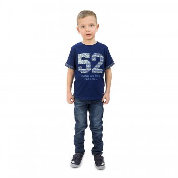 Джинсы (темно-синий)Одежда<br>Джинсы для мальчика от испанского бренда Mayoral. Произведены в размерах 2-9 лет. Джинсы выполнены из хлопка с добавлением эластана и украшены декоративными потертостями, а также дополнены функциональными карманами. В размерах 2-5 модель застегивается на удобную кнопку, в размерах 6-9 на молнию с пуговицей. Посадку можно подобрать при помощи утяжки по поясу. <br> Производитель: MAYORAL (Испания)<br> Страна производства: Пакистан<br> Коллекция: Весна/Лето 2016<br> Модель производится в размерах: 2-9 лет<br>  <br> Верх: 98% хлопок, 2% эластан<br>; Размеры в наличии: 2, 3, 4.<br>
