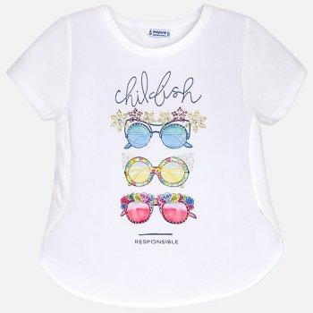 Футболка (белый с принтом)Одежда<br>Футболка для девочек-подростков. На ней нарисованы стильные очки от солнца, украшенные стразами. Такую футболку оценит каждая девочка :)   Верх: 57% хлопок, 40% полиэстер, 3% эластан<br> Производитель: MAYORAL (Испания)<br> Страна производства: Турция<br> Модель производится в размерах: 10-18<br> Коллекция: Весна/Лето 2018; Размеры в наличии: 10, 12, 14, 16, 18.<br>