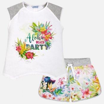 Купить Комплект: футболка, шорты (белый с цветами), Mayoral