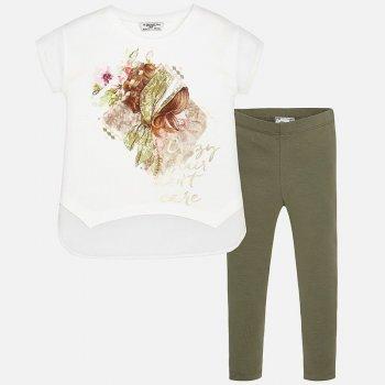 Купить Комплект: футболка, леггинсы (белый с принтом), Mayoral