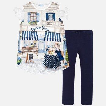 Комплект: блузка, брюки (белый, синий)Одежда<br>Описание: <br><br>Характеристики: <br>Верх: Блузка: 80% полиэстер, 10% хлопок, 10% модал. Брюки: 95% хлопок, 5% эластан.<br>Производитель: MAYORAL (Испания)<br>Страна производства: Бангладеш<br>Модель производится в размерах: 10-18<br>Коллекция: Весна/Лето 2018<br>; Размеры в наличии: 10, 12, 14, 16, 18.<br>