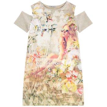 Платье (бежевый с цветами)Одежда<br>Материал<br>Верх: 44% вискоза, 40% полиэстер, 10% фибра<br>Описание<br>Летнее платье для девочки-подростка испанского бренда Mayoral. Производится в размерах 10-18 лет. Платье прямого кроя с вырезом на плечах станет прекрасным дополнением гардероба юной модницы.<br>Производитель: MAYORAL (Испания)<br>Страна производства: Китай<br>Коллекция: Весна/Лето 2017<br>Модель производится в размерах: 10-18 лет; Размеры в наличии: 10, 12, 14, 16, 18.<br>