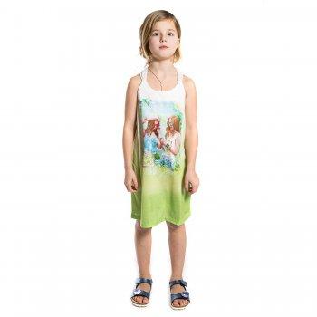 Платье (зеленый с принтом)Одежда<br>Яркое летнее платье для девочки-подростка испанского бренда Mayoral. Производится в размерах 10-18 лет. Яркий принт и градиентная расцветка создают летнее настроение. Прямой крой и мягкая ткань не сковывают движения. Главной изюминкой платья являются плетеные бретели с узором на спинке. <br> Производитель: MAYORAL (Испания)<br> Страна производства: Индия<br> Коллекция: Весна/Лето 2017<br> Модель производится в размерах: 10-18 лет  <br> Верх: 100% полиэстер<br>; Размеры в наличии: 10, 12, 14, 16, 18.<br>
