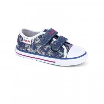 Кеды (синий с цветами)Обувь<br>Описание<br>Красивые кеды для теплой и сухой погоды. Кеды Pablosky по праву можно считать одними из лучших. Оригинальный дизайн, отличное качество, вентилируемая стелька, достаточно жесткий задник - это далеко не все их достоинства. Такие кеды пригодятся в любой сезон - зимой их можно носить в качестве сменной обуви в садик или на физкультуру. <br>Материал<br>Верх: текстиль, искусственные материалы. <br>Подкладка: текстиль, стелька - натуральная кожа.<br>Подошва: полимерные материалы. <br>Производитель: Pablosky (Испания).<br>Коллекция Весна-Лето 2018<br>Страна производства: Китай.<br>Температурный режим<br>От +10 градусов и выше.; Размеры в наличии: 25, 26, 27, 28, 29, 30, 31, 32, 33, 34, 35, 36.<br>