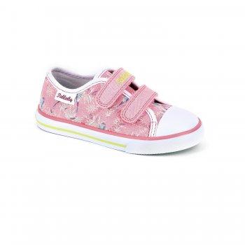 Кеды (розовый с цветами)Обувь<br>Красивые кеды для теплой и сухой погоды. Кеды Pablosky по праву можно считать одними из лучших. Оригинальный дизайн, отличное качество, вентилируемая стелька, достаточно жесткий задник - это далеко не все их достоинства. Такие кеды пригодятся в любой сезон - зимой их можно носить в качестве сменной обуви в садик или на физкультуру. <br>  <br> Верх: текстиль, искусственные материалы. <br> Подкладка: текстиль, стелька - натуральная кожа.<br> Подошва: полимерные материалы. <br> Производитель: Pablosky (Испания).<br> Коллекция Весна-Лето 2018<br> Страна производства: Китай.<br><br> Температурный режим <br> От +10 градусов и выше.; Размеры в наличии: 25, 26, 27, 28, 29, 30, 31, 32, 33, 34, 35, 36.<br>