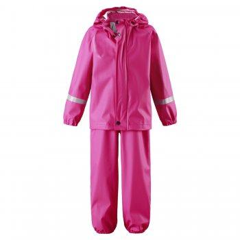 Комплект прорезиненный Tihku (розовый)Одежда<br>Производитель: Reima (Финляндия)<br> Страна производства: Китай<br> Коллекция: Весна/Лето 2017<br>    Куртка: капюшон отстегивается с помощью кнопок, защита подбородка от защемления, ветрозащитная планка,манжеты на резинке, светоотражающие элементы. Брюки: регулируемые лямки, регулировка объема по талии с помощью кнопок, подол штанин на резинке,  съемные трикотажные штрипки, светоотражающие элементы.  Верх: 100% полиуретан <br> Утеплитель: нет<br> Подкладка: 100% полиэстер<br><br> Температурный режим <br> от +7 градусов и выше.; Размеры в наличии: 74, 80, 86, 86, 92, 98, 104, 110, 116.<br>