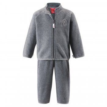 Флисовый комплект Etamin (серый)Одежда<br>Материал:<br>Верх: 100% полиэстер (флис).<br>Описание:<br>Функциональные элементы:<br>Производитель: Reima (Финляндия)<br>Страна производства: Китай<br>Коллекция: Осень-Зима 2016<br>Температурный режим:; Размеры в наличии: 74, 80, 86, 92, 98.<br>