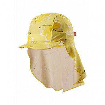 Панама Octopus (желтый с разводами)Одежда<br>Эта панама  не только закрывают голову от палящего солнца, но и благодаря длинному отвороту сзади, защищают шею и плечи от обгорания. Еще одно отличие панам Reima от остальных - материал. Как и вся одежда из пляжной коллекции, они сшиты из быстросохнущего эластичного матриала Sunproof, а значит их не надо снимать даже во время купания.    Верх: 80% хлопок, 20% эластан<br> Подкладка: нет<br> Производитель: Reima (Финляндия)<br> Страна производства: Китай<br> Модель производится в размерах: 44/46-56/58<br> Коллекция: Весна-Лето 2018<br>; Размеры в наличии: 48, 52.<br>