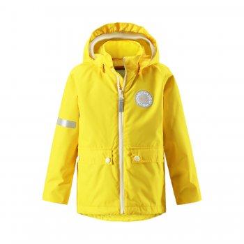 Куртка Taag (желтый)Куртки<br>Материал: <br>Верх: 100% полиэстер<br>Утеплитель: 120 грамм<br>Подкладка: 100% полиэстер<br>Водонепроницаемость: 10000 мм<br>Паропроводимость: 5000 г/м2/24ч<br>Износостойкость: 30 000 об.<br>Описание: <br>Хит коллекции Reima - куртка 2 в 1 со съемной утепленной жилеткой. Универсальная модель на температуру от 0 градусов и выше. Мембрана 10 000 мм защитит ребенка  от непогоды, а яркие цвета поднимут настроение даже в самый пасмурный день. Кстати, кнопки для крепления жилетки подойдут также и для крепления флисовой одежды  Reima Play Layers. Выбирая размер учитывайте, что одежда Рейма шьется запас на вырост 5 см. <br>Функциональные элементы: капюшон отстегивается с помощью кнопок, защита подбородка от защемления, карманы на кнопках, трикотажные манжеты, утяжка по подолу, светоотражающие элементы, утепленная отстегивающаяся жилетка. <br>Производитель: Reima (Финляндия)<br>Страна производства: Китай <br>Модель производится в размерах 92-140<br>Коллекция: Весна/Лето 2017<br>Температурный режим:  <br> от 0 градусов и выше; Размеры в наличии: 92, 98, 104, 110, 116, 122, 128, 134, 140.<br>
