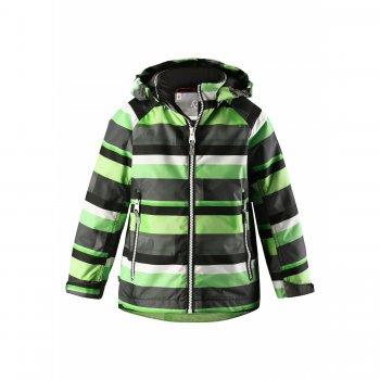 Куртка утепленная Schiff (зеленый в полоску)Куртки<br>Описание: <br>Яркая и стильная утепленная куртка для мальчика. Ее можно носить с поддевой от 0 градусов и до +15. Размерный ряд куртки рассчитан до роста 152 см (примерно до 12-13 лет).<br>Благодаря водонепроницаемости 8000 мм можно смело гулять под дождиком и не бояться промокнуть.<br>Модель очень функциональная – манжеты регулируются на липучках, есть утяжка по подолу куртки. В кармашки на молнии мальчик сможет класть небольшие  (но очень ценные для него) вещи.<br>Светоотражающие элементы сделают ребенка заметным на улице, обеспечив безопасность в темное время суток, а капюшон на кнопках легко отстегнется в случае зацепки.<br><br>Функциональные элементы: капюшон отстегивается с помощью кнопок, защита подбородка от защемления, манжеты на липучке, карманы на молнии, утяжка по подолу, светоотражающие элементы. <br>Характеристики: <br>Верх: 100% полиэстер.<br>Утеплитель: 80 грамм (утеплитель Reima Soft Loft, 100% полиэстер).<br>Подкладка: 100% полиэстер<br>Водонепроницаемость: 8000 мм<br>Паропроводимость: 7000 г/м2/24ч<br>Износостойкость: 30000 об.<br>Производитель: Reima (Финляндия)<br>Страна производства: Китай<br>Модель производится в размерах: 92-152<br>Коллекция: Весна-Лето 2018<br>Температурный режим: <br>От 0 градусов и выше.; Размеры в наличии: 92, 98, 104, 110, 116, 122, 128, 134, 140, 146, 152.<br>