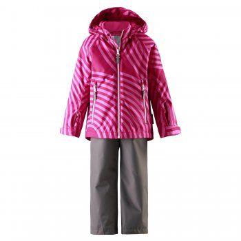 Комплект ReimaTec Seili (розовый)Комбинезоны<br>Комплект на межсезонье для детей от 2 до 10 лет финской марки Reima.  Куртка на легком утеплителе 80 грамм и брюки без утеплителя подойдут  на температуру от +5 до +15 градусов, с теплой флисовой поддевой и для занятий спортом - начиная с 0 градусов.  В комплекте ReimaTec Seili ребенку не страшны дождь, ветер и другие капризы погоды. Водонепроницаемая, прочная ткань, проклеенные  швы, регулировки и утяжки - необходимые мелочи для комфорта ребенка и спокойствия родителей. При выборе размера обратите внимание, что одежда Reima большимерит на +5 см от указанного на ярлыке размера.<br><br> Производитель: Reima (Финляндия)<br> Страна производства: Китай <br> Модель производится в размерах 92-140<br> Коллекция: Весна/Лето 2017<br>   Куртка: капюшон отстегивается с помощью кнопок, защита подбородка от защемления, карманы на молнии, манжеты на липучке, светоотражающие элементы. Брюки: регулируемые отстегивающиеся лямки, пояс регулируется с помощью утяжки, подол штанин регулируется липучкой. <br> Верх: 100% полиэстер<br> Утеплитель: 80 грамм<br> Подкладка: 100% полиэстер<br> Водонепроницаемость: 8000 мм<br> Паропроводимость: 5000 г/м2/24ч<br> Износостойкость: 30 000 об.<br><br> Температурный режим  <br>  от 0 градусов и выше; Размеры в наличии: 104, 110, 116, 122, 128, 134, 140.<br>