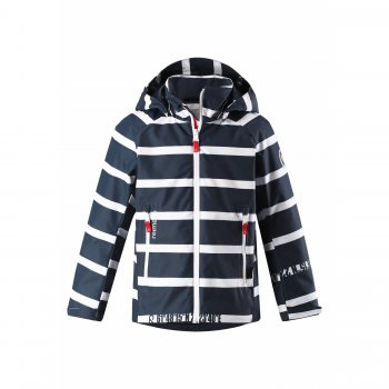 Куртка утепленная Fountain (синий в полоску)Куртки<br>Описание: <br>Утепленная куртка ReimaTec с повышенной водонепроницаемостью (12 000 мм). Также она имеет проклеенные швы и защищенную молнию, которая не только спасает от влаги, но и препятствует ее механическому повреждению. <br>В куртке 80гр. утеплителя, что позволяет выходить на улицу начиная с 0 градусов.<br>Куртка имеет стильный морской принт и не останется без внимания мальчиков-подростков. <br>Манжеты на липучках, утяжка по подолу куртки и на капюшоне, а также высокий воротник-стойка защитят ребенка от холода и ветра. <br>А в темное время суток подростка обезопасят светоотражающие элементы, расположенные на куртке.<br>Функциональные элементы: капюшон отстегивается с помощью кнопок, защита подбородка от защемления, карманы на молнии, манжеты на липучке, утяжка по подолу, светоотражающие элементы. <br>Характеристики: <br>Верх: 100% полиэстер.<br>Утеплитель: 80 грамм (утеплитель Reima Flex, 100% полиэстер).<br>Подкладка: 100% полиэстер<br>Водонепроницаемость: 12000 мм<br>Паропроводимость: 7000 г/м2/24ч<br>Износостойкость: 30000 об.<br>Производитель: Reima (Финляндия)<br>Страна производства: Китай<br>Модель производится в размерах: 104-164<br>Коллекция: Весна-Лето 2018<br>Температурный режим: <br>От 0 градусов и выше.; Размеры в наличии: 134, 140, 146, 152, 158, 164.<br>