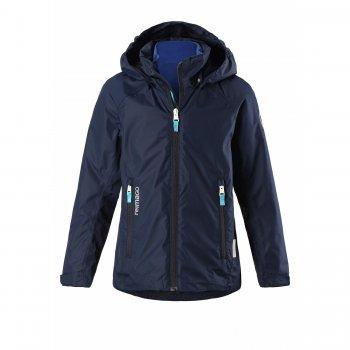 Куртка 3 в 1 Travel (синий)Куртки<br>Описание<br>Интересная весенняя куртка 3в1 от фирмы Reima. Она подойдет для детей от 5 лет до подросткового возраста.<br>Вместе с курткой идет теплая флисовая кофта, которая пристегивается к ней молнией. Вместе с кофтой куртку можно носить от +7 градусов, а если ее отстегнуть, то куртка станет спасением в ветряные и дождливые летние дни, ведь ее показатель водонепроницаемости составляет 5000 мм.<br>У куртки два варианта расцветки – с ярким принтом и однотонная. <br>Манжеты утягиваются липучками, а подол куртки регулируется по объему утяжкой-фиксатором. Это позволяет сохранять тепло и делает куртку очень функциональной.<br>Также на куртке расположены светоотражающие элементы, которые обезопасят ребенка в темное время суток.  <br>Функциональные элементы: капюшон отстегивается с помощью кнопок, защита подбородка от защемления, карманы на молнии, манжеты на липучке, утяжка по подолу, светоотражающие элементы. <br>Характеристики<br>Верх: 100% полиэстер.<br>Утеплитель: нет<br>Подкладка: 100% полиэстер (mech-сетка) + отстегивающаяся флисовая кофта (100% полиэстер)<br>Водонепроницаемость: 5000 мм<br>Паропроводимость: 8000 г/м2/24ч<br>Износостойкость: 15000 об.<br>Производитель: Reima (Финляндия)<br>Страна производства: Китай<br>Модель производится в размерах: 104-164<br>Коллекция: Весна-Лето 2018<br>Температурный режим<br>От +7 градусов и выше.; Размеры в наличии: 110, 116, 122, 128, 134, 140, 146, 152, 158, 164.<br>