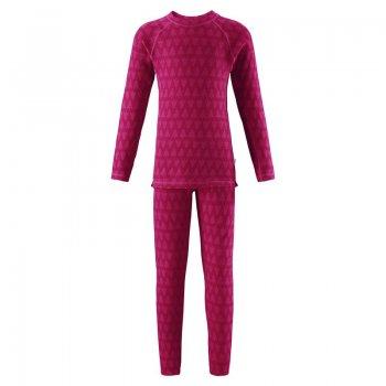 Комплект термобелья Taival (розовый)Одежда<br>Материал:<br>Верх: 80% шерсть, 20% полиэстер<br>Описание:<br>Функциональные элементы:<br>Производитель: Reima (Финляндия)<br>Страна производства: Китай<br>Коллекция: Осень-Зима 2017<br>Модель производится в размерах: 80-160<br>Температурный режим:<br>От +15 градусов и выше либо в качестве поддевы под верхнюю одежду; Размеры в наличии: 80, 90, 100, 110, 120, 130, 140, 150, 160.<br>