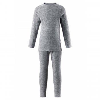 Комплект термобелья Kinsei (серый)Одежда<br>Производитель: Reima (Финляндия)<br> Страна производства: Китай<br> Коллекция: Осень-Зима 2017<br> Модель производится в размерах: 80-160<br>  <br> Верх: 72% шерсть, 28% лиоцелл (волокно из целлюлозы)<br><br> Температурный режим <br> От +15 градусов и выше либо в качестве поддевы под верхнюю одежду; Размеры в наличии: 80, 90, 100, 110, 120, 130, 140, 150, 160.<br>