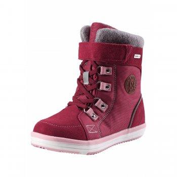 Ботинки Reimatec Freddo Toddler (малиновый)Обувь<br>Материал<br>Верх: водоотталкивающая замша, текстиль.<br>Подкладка: искусственный мех, стелька из войлока<br>Подошва: каучук<br>Описание<br>Функциональные элементы: съемные стельки, эластичные шнурки, застежка молния<br>Производитель: Reima (Финляндия)<br>Страна производства: Китай<br>Модель производится в размерах: 20-27<br>Коллекция: Осень-Зима 2017<br>Температурный режим<br>от +5 до -10 градусов<br>; Размеры в наличии: 22, 23, 24, 25, 26, 27.<br>