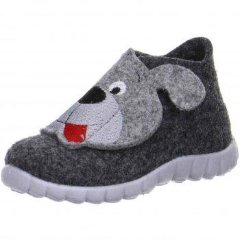 Войлочные тапочки Happy (серый с собачкой)Обувь<br>Материал<br>Верх: Войлок<br>Подошва: полимерные материалы<br>Подкладка (внутренний материал): войлок<br>Описание<br>Уютные домашние тапочки из 100% шерсти станут любимой обувью ребенка для дома и садика в холодное время года. Усиленный задник надежно фиксируют ножку ребенка, а вентилируемая не скользящая подошва обеспечит максимальный комфорт.<br>Функциональные элементы: застежка на липучку, не скользящая подошва с отверстиями для вентиляции. <br>Производитель: Superfit (Австрия)<br>Коллекция Осень/Зима 2017<br>Страна производства: Индия<br>Производятся в размерах от 19 до 30<br>Температурный режим<br>Для ношения в помещении; Размеры в наличии: 23, 24, 25, 26, 27, 28, 29, 30.<br>