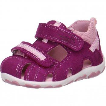 Сандалии закрытые (фуксия)Обувь<br>Описание<br>Легкие и удобные сандалии SUPERFIT. Высокий, плотный задник и закрытая передняя часть надёжно зафиксируют и защитят ножку Вашего ребёнка от повреждений. Удобная застежка-липучка регулирует высоту подъема на  ноге ребека. Анатомическая стелька позаботится о правильном развитии ножек. Рельефная подошва произведена из нескользящих материалов.<br>Функциональные элементы: две липучки, анатомическая стелька, мягкая вставка в области задника от натирания.<br>Характеристики<br>Верх: велюр/текстиль<br>Подкладка(внутренний материал): натуральная кожа.<br>Стелька: натуральная кожа.<br>Подошва: полиуретан<br>Производитель: Superfit (Австрия)<br>Страна производства: Индия<br>Модель производится в размерах: 18-28<br>Коллекция: Весна/Лето 2018.<br>Температурный режим<br>От +20 градусов и выше<br>; Размеры в наличии: 21, 22, 23, 24, 25, 26, 27, 28.<br>